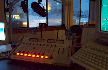 Snow pic from Studio A cranking out the Classic Rock..